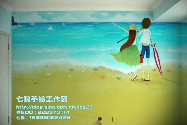 青岛手绘墙几米海景画彩绘墙沙发墙电视背景墙-青岛