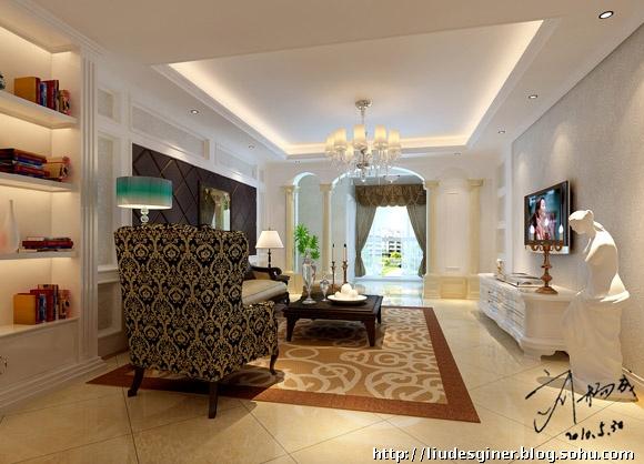 人沙发复式楼梯欧式客厅垭口欧式风格客厅电视背景墙效果图欧式风