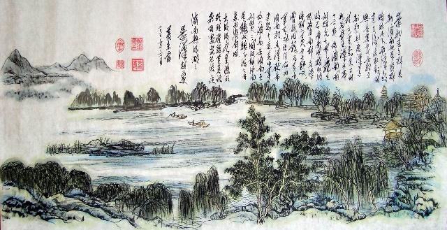 书法介绍10个朝代济南城及大明湖的人文历史.本系列作品集
