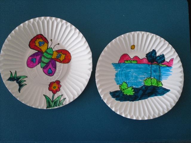 幼儿园蛋糕盘子动物手工画图片