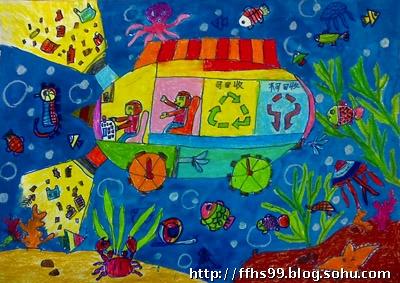 王浚陈  8岁  《海底垃圾回收车》图片