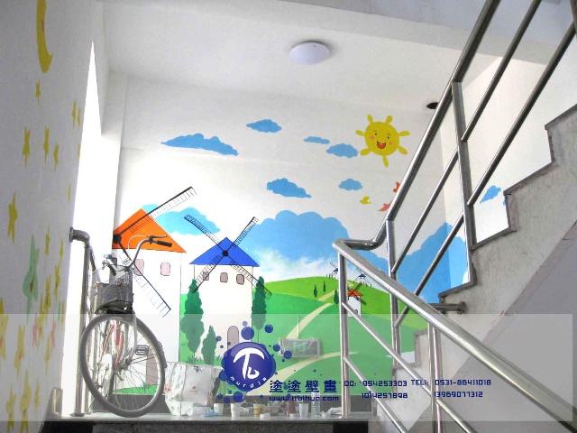 济南手绘墙·济南涂涂时尚彩绘连锁·义乌市场幼儿园楼梯效果