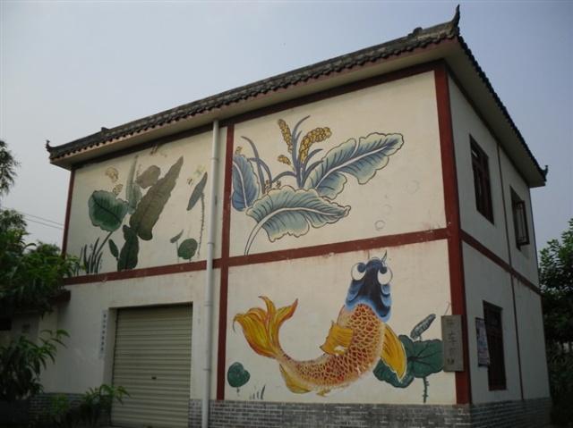 墙绘荷塘仙鹤图片大全