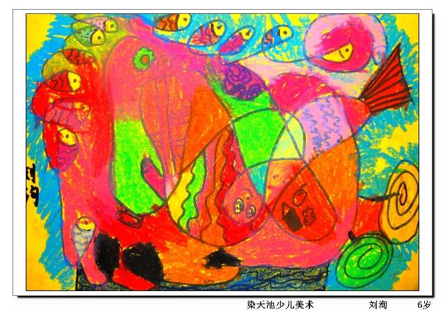 母爱的抽象画-儿童抽象画 小小线条跑的快