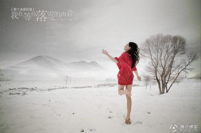看雪地里的红衣美女 太性感了