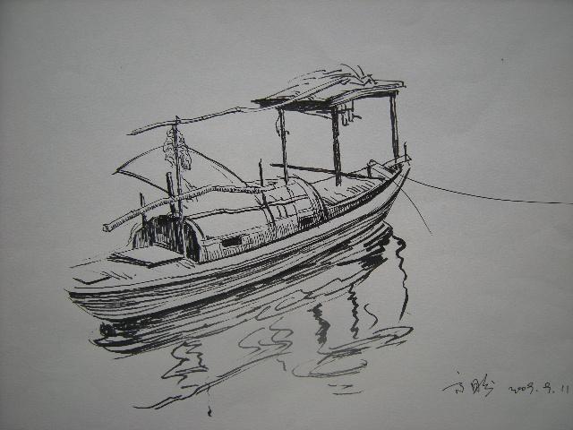 大理风景速写钢笔画图库::云南大理风景