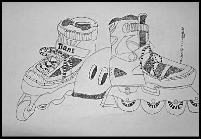 书包与鞋设计素描