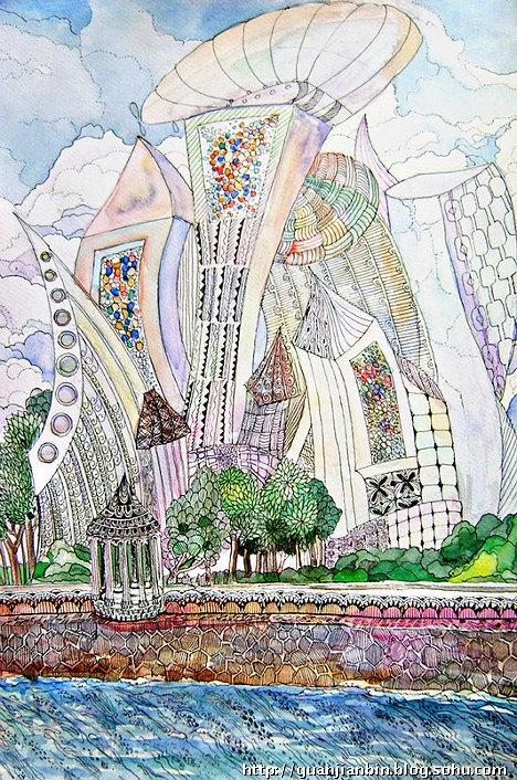 """看看俄罗斯儿童画笔下的""""未来城市"""""""