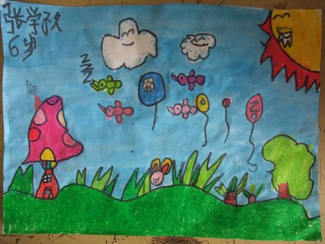 2010年7月16日上午小班作品——《简笔画—兔子的蘑菇小房》