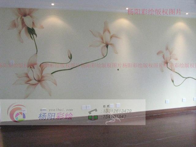 苏州手绘壁画-御湖熙岸手绘电视背景墙-粉百合0/?