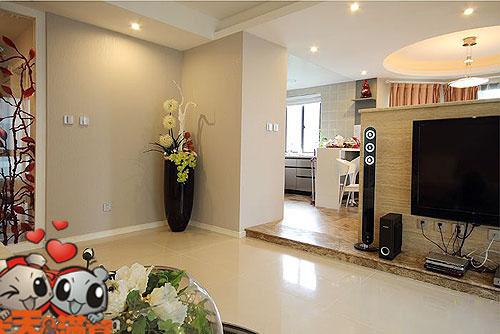 客厅+餐厅美观实用的瓷砖实景图欣赏-亿家居杭州建材