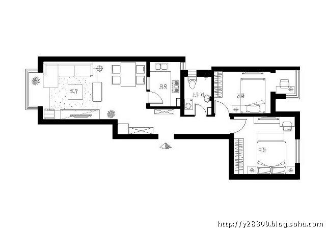 80平现代简约2居室 实创装修设计
