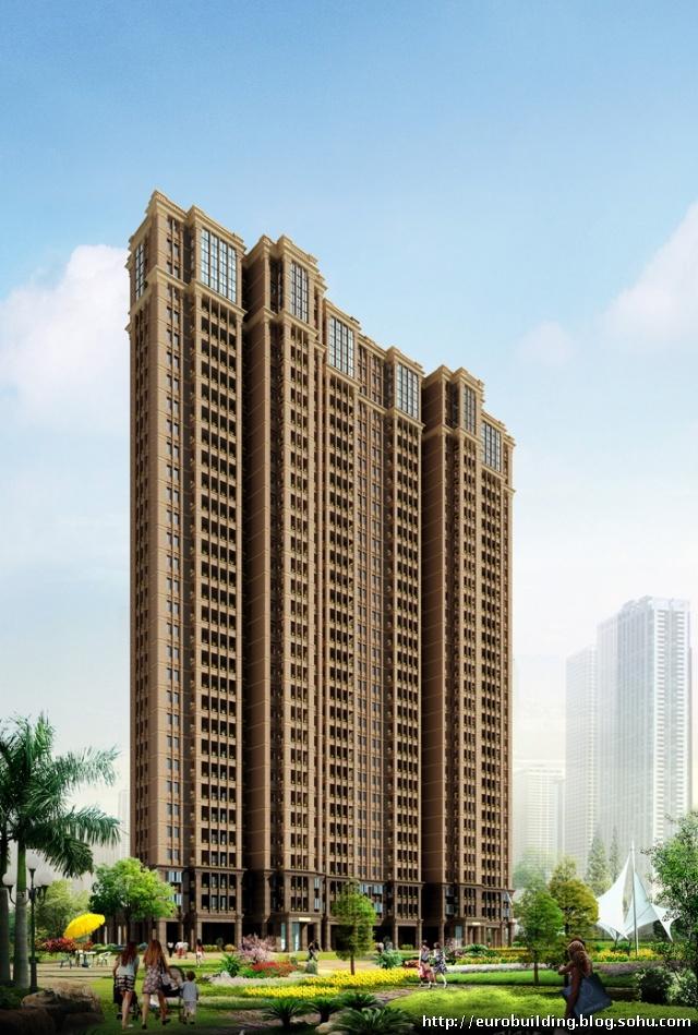 高层欧式风格住宅设计实例效果图   [江苏]高层欧式风格住宅区